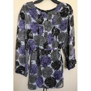Style & Co Floral Leaf Blouse Shirt Top Size 2X